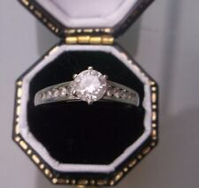 Women's 9ct White Gold Solitaire CZ with CZ Stone Shoulders Size N Stamped W1.5g