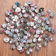 New 50pcs/Pack Vintage Antique Silver Snap 12mm Charms Buttons with Rhinestone