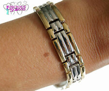 MENS SUPER STRONG MAGNETIC GOLD & SILVER ALLOY HEALING BRACELET PAIN RELIEF NEW
