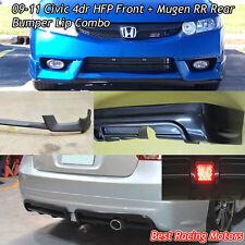 HFP Style Front (PU) + Mu-gen RR Style Rear Bumper Lip (ABS) Fit 09-11 Civic 4dr