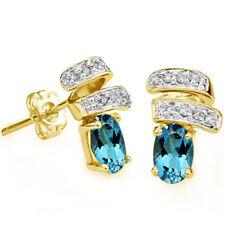 1.06 CARAT LONDON BLUE TOPAZ & DIAMOND 14KT SOLID YELLOW GOLD EARRINGS STUD