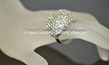 WIDE DOME FASHIONABLE CLEAR WHITE BLING RHINESTONES (OPEN BACK/ADJUSTABLE) RING