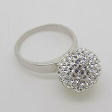 Sterling Silver & Swarovski Crystal Ball Sparkle Ring - Size O