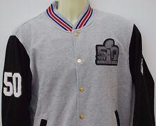 NFL American Football Super Bowl 50 Grey Fleece Letterman Jacket New Medium