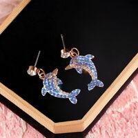 Dangle Women Jewelry Cute Crystal Dolphin Unique Stud Earrings Blue Delicate