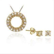18K Gold/ Sterling Silver CZ Pendant Stud Earring Set