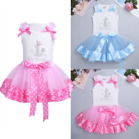 Infant Baby Girl My 1st Birthday Party Dress Outfit Party Cake Smash Shirt+Skirt
