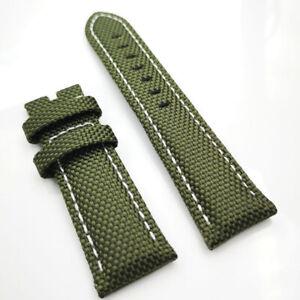 22mm Green Canvas Genuine Leather White Stitch PAM Strap for RADIOMIR LUMINOR