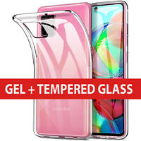 TPU Soft Clear Case Cover Gel  For Samsung Galaxy A51 2020 + Free Tempered Glass