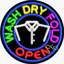 "Brand New ""Wash Dry Fold Open"" 26x26 Round Real Neon Sign w/Custom Options 11170"