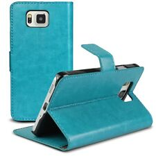 Coque Housse Etui Smart Cover Folio Stand Galaxy Alpha G850 Cuirette Retro Bleu