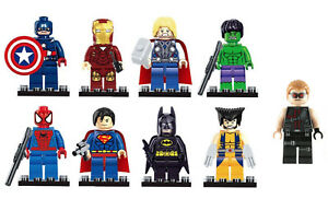 9 x MARVEL LEGO AVENGERS SUPER HEROES MINI FIGURES Superman Iron HULK minifigure
