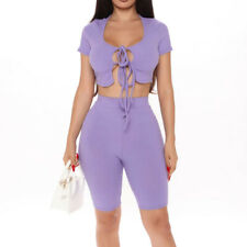 SUM2082 Women Solid color Ribbed Shorts Set Crop Top Lace-up+Half-length Shorts