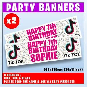 """2x PERSONALISED TIK TOK BANNERS BIRTHDAY PARTY - ANY NAME, ANY AGE, 36x11"""""""