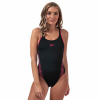 Womens Speedo Monogram Muscleback Swimsuit In Black