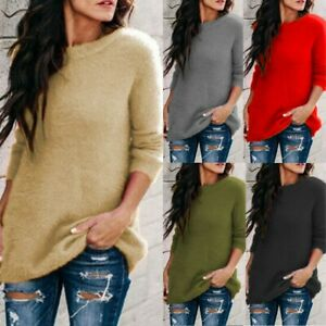 Womens Winter Sweater Knitted Casual Loose Blouse Long Sleeve Pullover Jumper