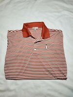 Mens PETER MILLAR SUMMER COMFORT Polo  Burnt Orange Stripe Golf Shirt LARGE