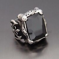 Mens Huge Silver Dragon Claw Black Onyx CZ 316L Stainless Steel Biker Ring
