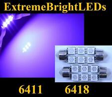 TWO Purple 39mm 6411 6418 18-SMD LED License Plate Lights Bulbs #76