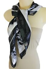 Women Black White Fancy Square Soft Fabric Scarf Wrap Dressy Anchor Queen Crown