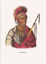 """1972 Vintage Full Color Art Plate """"IOWA WARRIOR NO HEART"""" NATIVE AM INDIAN Litho"""