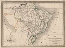 Il Brasile. carte du brésil. ORIGINALE contorno COLORE. Malte-Brun C1846 Old Map