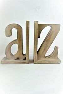 Bookend Set Wooden distressed  A/Z design Large Book ends bookends