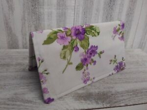 CHECKBOOK COVER Document Coupon Organizer Purple Honey Suckle Fabric USA Made