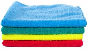 4 pack Microfiber Towels Red, Green, Blue,Yellow 16x16