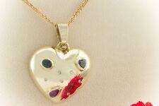 Schmuck Großer Herz Anhänger mit Rubin Smaragd Saphir Brillanten in Gelbgold 585