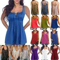 Womens Summer Sleeveless T-Shirt Vest Casual Cami Tank Tops Blouse Tee Plus Size