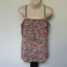 'HI THERE BY KAREN WALKER' EC SIZE '10' TAUPE & ORANGE SLEEVELESS FRILL TOP