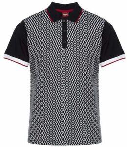 "Merc Clothing ""Swift"" Jacquard Knit Polo Shirt, Black, Mod,60s,Scooter,Ska, SALE"
