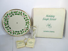 Cookie Plate Lenox Holiday Server Handle MIB White Porcelain Holly Christmas