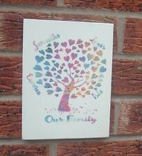 Shabby vintage chic Family Tree Love heart design personalised plaque signs