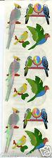 Sandylion Shiny PARROTS birds Scrapbooking Stickers.  H47