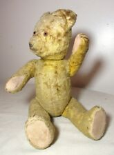 rare antique handmade straw filled mohair jointed flat footed teddy bear 14.5 in