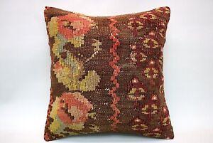 Kilim Pillow, 16x16 in, Decorative Boho Pillow, Throw Pillow, Decorative Pillow