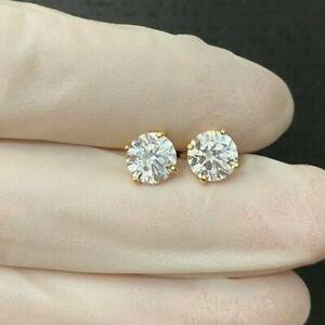 2.00CT ROUND CUT LAB DIAMOND EARRINGS 14K YELLOW GOLD STUDS SCREW-BACK