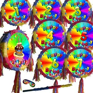 Number Pinata fun game theme Happy Birthday Party 5th 3rd 2nd Stick Boys Girls 1