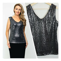[ JOSEPH RIBKOFF ] Womens Evening Sequinned Silver Top | Size AU 18 or US 16