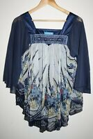 Zeva Collection Women's Blue Mix Beads Floral Batwing Poncho Style Top One Size