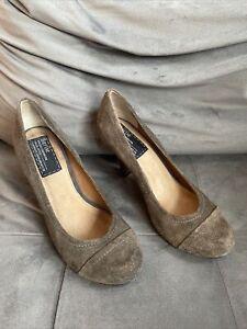 Bertie Brown Suede Court Shoes Size 39 Uk 6 Wood Effect Heels