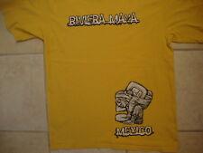 Riviera Maya Mexico Mayan River Vacation Souvenir Yellow T Shirt M
