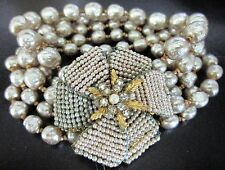MIRIAM HASKELL Baroque Style Glass Pearl Vintage Bracelet