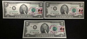 1976 $2 3 notes,1st Day, Error, Canceled Commerce City, CO, Adams City station