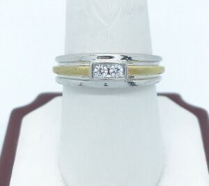 Men's two-tone round diamond wedding band anniversary ring 14k over sterling