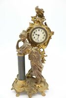 Antique Victorian Bronze Woman Mantel Clock Ornate Black Pillar
