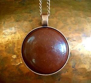 "Orgonite® Pendant 2"" Orgone Necklace Round Red Circle Dome Vortex Energy Jewlery"