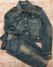 LuLu Miss Grant Completo Jeans Giubbotto E Pantaloni Finitura Sabbiata Tg. XL/40